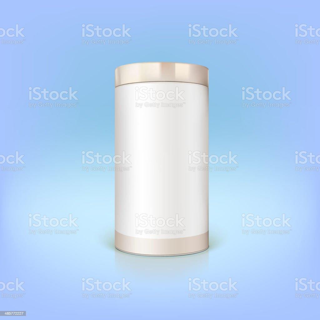 Round tin packaging. vector art illustration