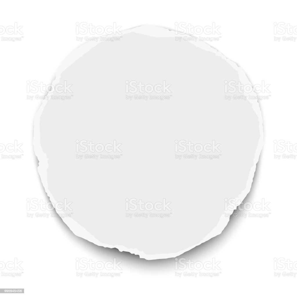 round torn paper tear with soft shadow isolated on white background