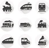 Round train icon on white background. Vector elements