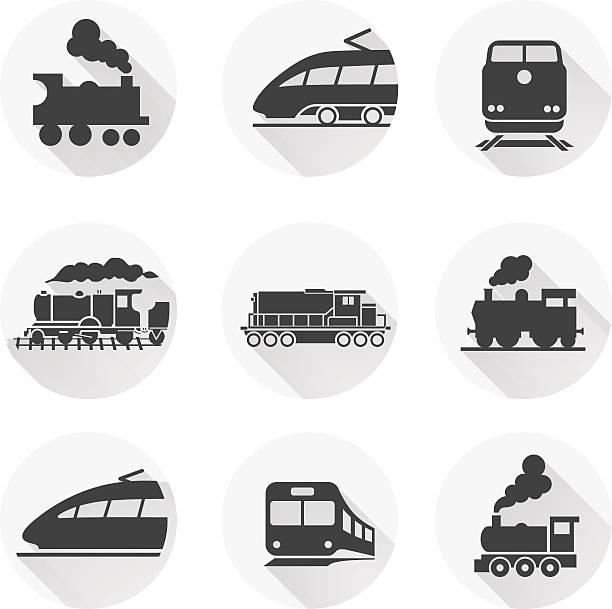 왕복 기차 아이콘크기 흰색 배경. 벡터 일러스트 - 기차 실루엣 stock illustrations