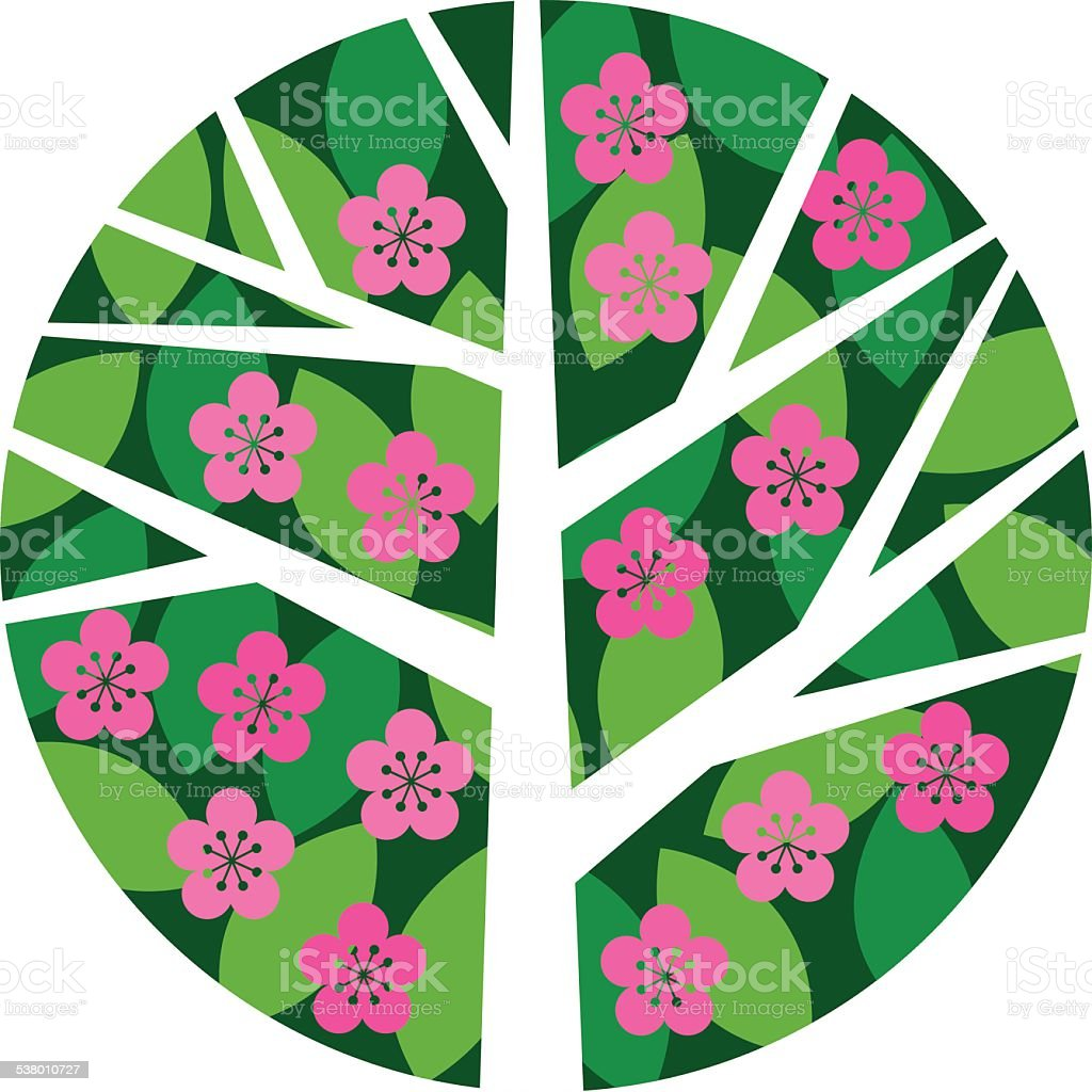 Round tree with leaves and flowers royalty-free round tree with leaves and flowers stock vector art & more images of 2015