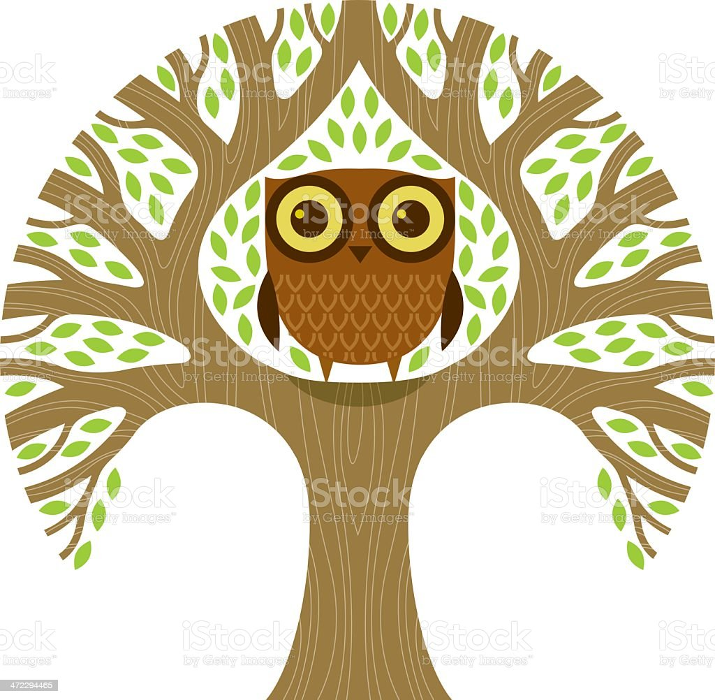 Round tree with owl royalty-free stock vector art