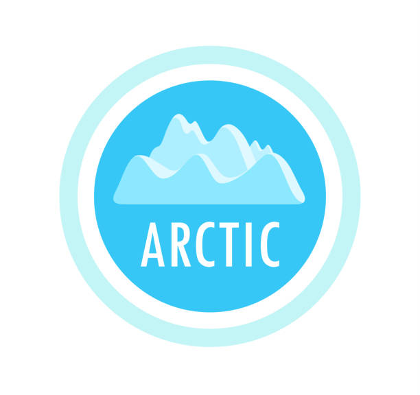 Round vector emblem with ice mountains and arctic caption Round vector emblem with ice mountains and arctic caption. Badge for travel, camping, recreation or climbing company. Logo illustration for banners, sticker, seal and web sites. arctic stock illustrations