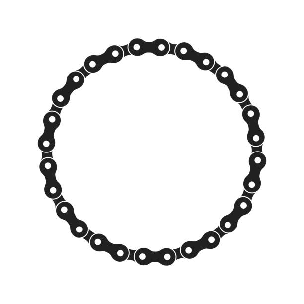 Round Vector Frame Made of Bike or Bicycle Chain. Monochrome Black Bike Chain. Bike Chain Circle Frame Round Vector Frame Made of Bike or Bicycle Chain. Monochrome Black Bike Chain. Blank Bike Chain Circle Frame. bicycle chain stock illustrations