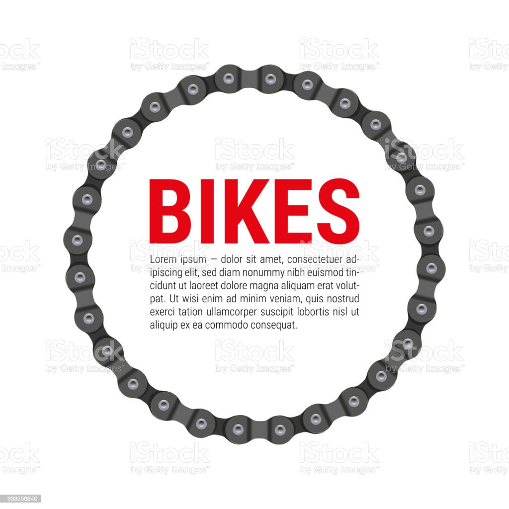 Round Vector Frame Made Of Bike Or Bicycle Chain With Sample Text ...