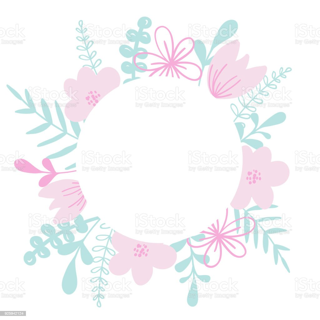 Round Vector Frame With Flower And Leaves For Wedding Invitation ...