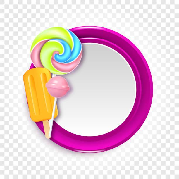 Runde Vektor-Illustration mit Süßigkeiten, Bonbons und Lutscher – Vektorgrafik