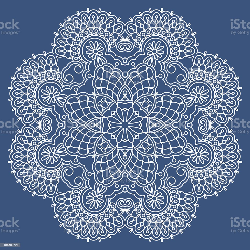 Round vector lace doily design on blue background vector art illustration