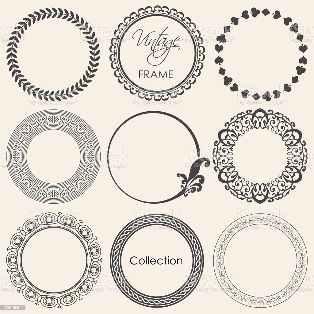round vintage frame vector collection vector art illustration