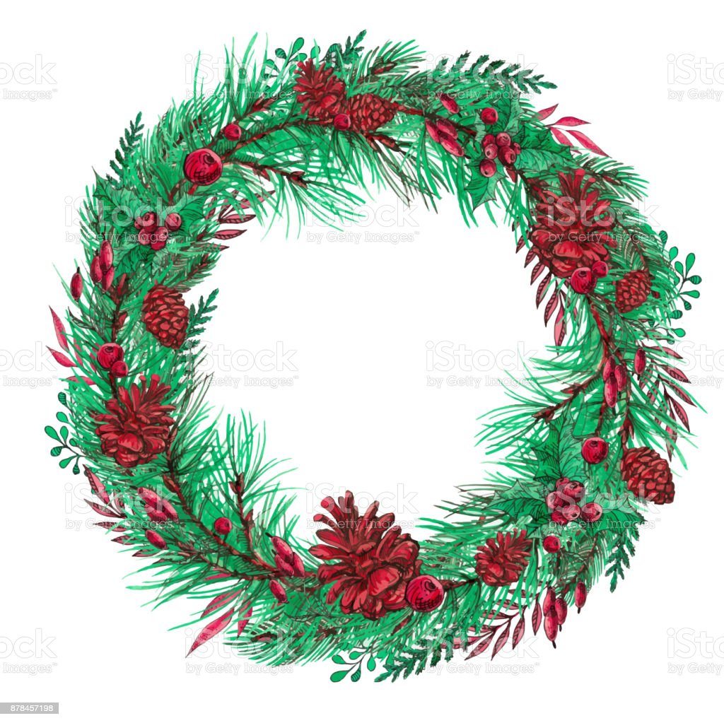 Round Vintage Wreath For Christmas Cards And Winter Design Stock ...