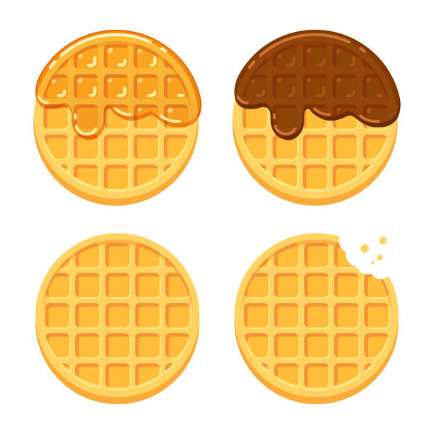 Round waffles set Cartoon round waffles illustration set. Plain, with chocolate and syrup. Traditional breakfast food vector illustration set. maple syrup stock illustrations