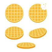 Belgian round waffles illustration set. Flat vector style cartoon icons, different angles.