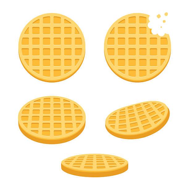 Round waffles set vector art illustration