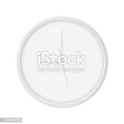 Round wall clock isolated on white background. Blank mockup for your design or branding. Vector illustration