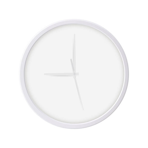Round wall clock isolated on white background Round wall clock isolated on white background. Blank mockup for your design or branding. Vector illustration wall clock stock illustrations