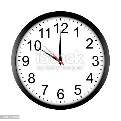 Round wall clock mock up - front view. Ten o'clock. Vector illustration