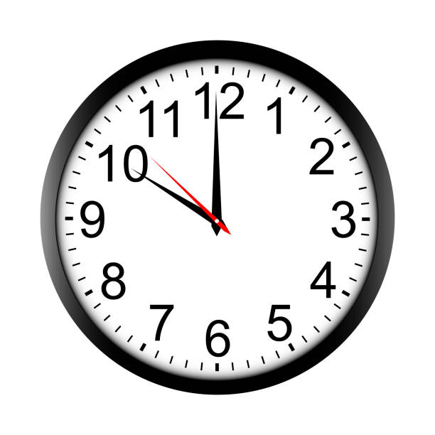 Round wall clock mock up - front view Round wall clock mock up - front view. Ten o'clock. Vector illustration wall clock stock illustrations