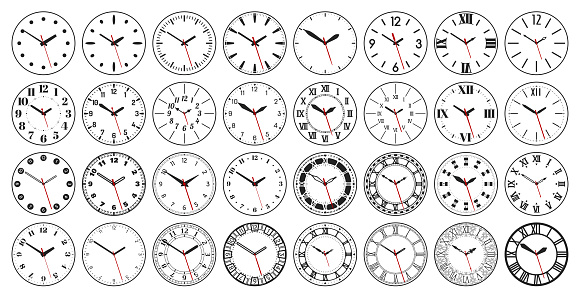 Round watch faces with clock hands
