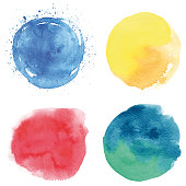 Set of blue, red, yellow, greenish vectorized round watercolor splashes.