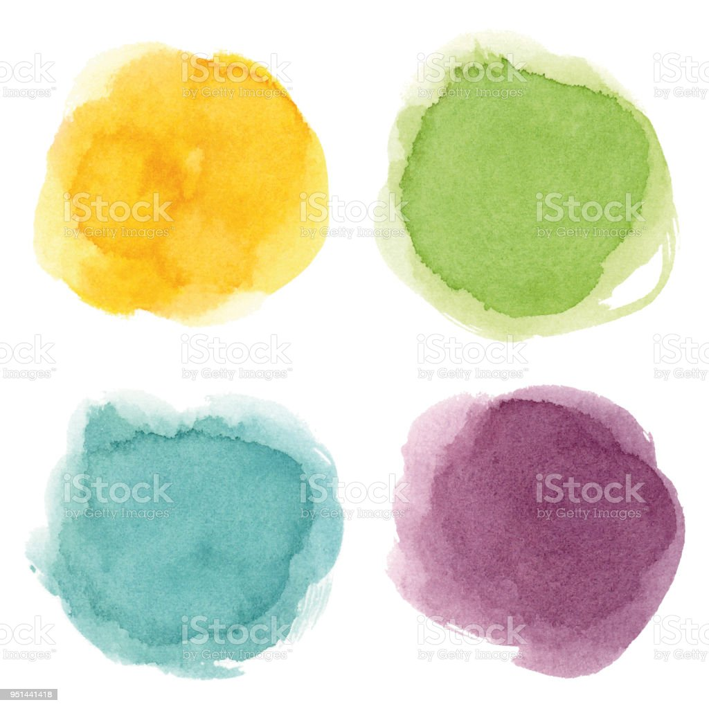 Round watercolor spots vector art illustration