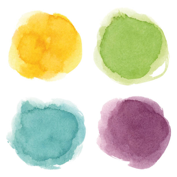 round watercolor spots - насыщенный цвет stock illustrations