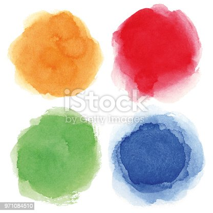 Set of blue, red, orange, green vectorized round watercolor splashes.