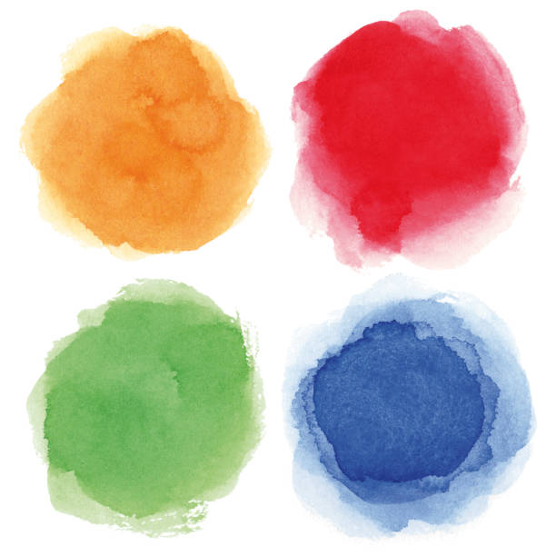 Round watercolor spots vector art illustration