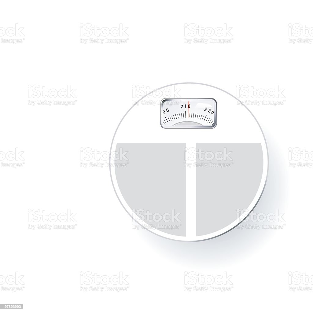 Round white bathroom scale reading 211 lbs isolated on white royalty-free stock vector art