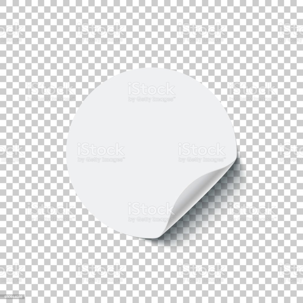 Round white blank sticker with curled edge isolated on transparent background. Vector design element. векторная иллюстрация