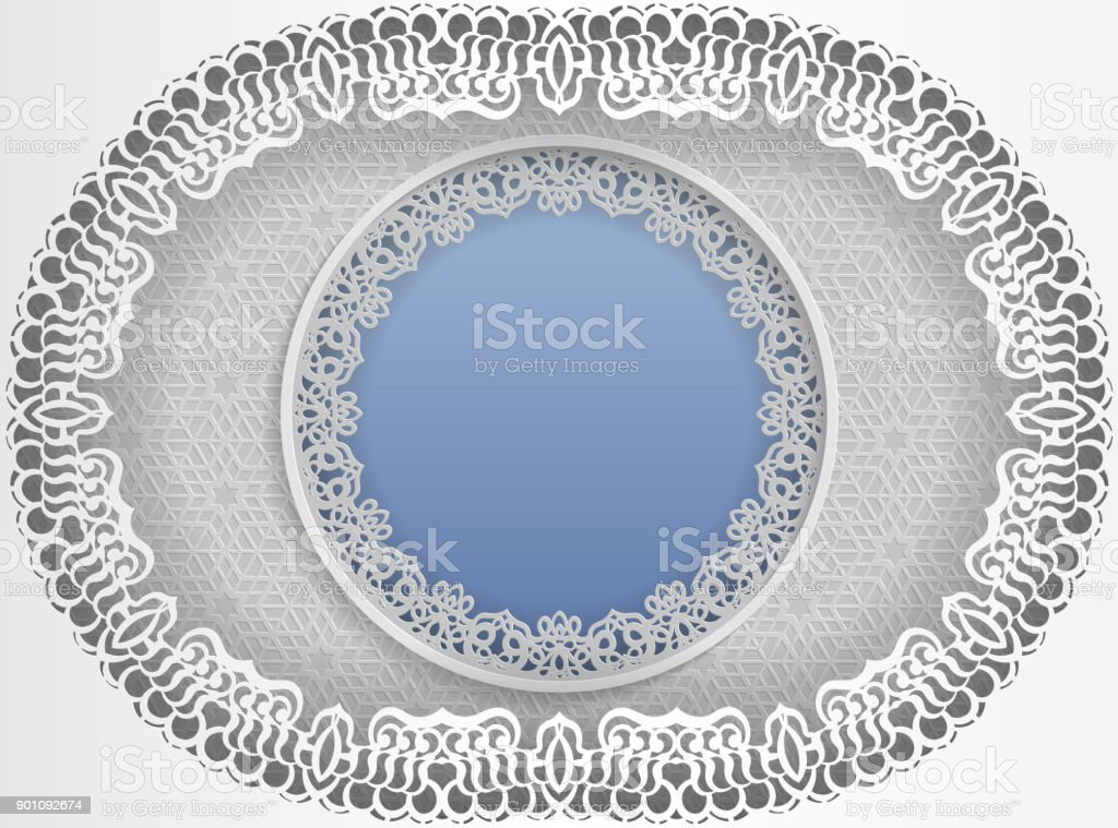 Round White Frame In An Oval Frame With Lace Edges And A Floral