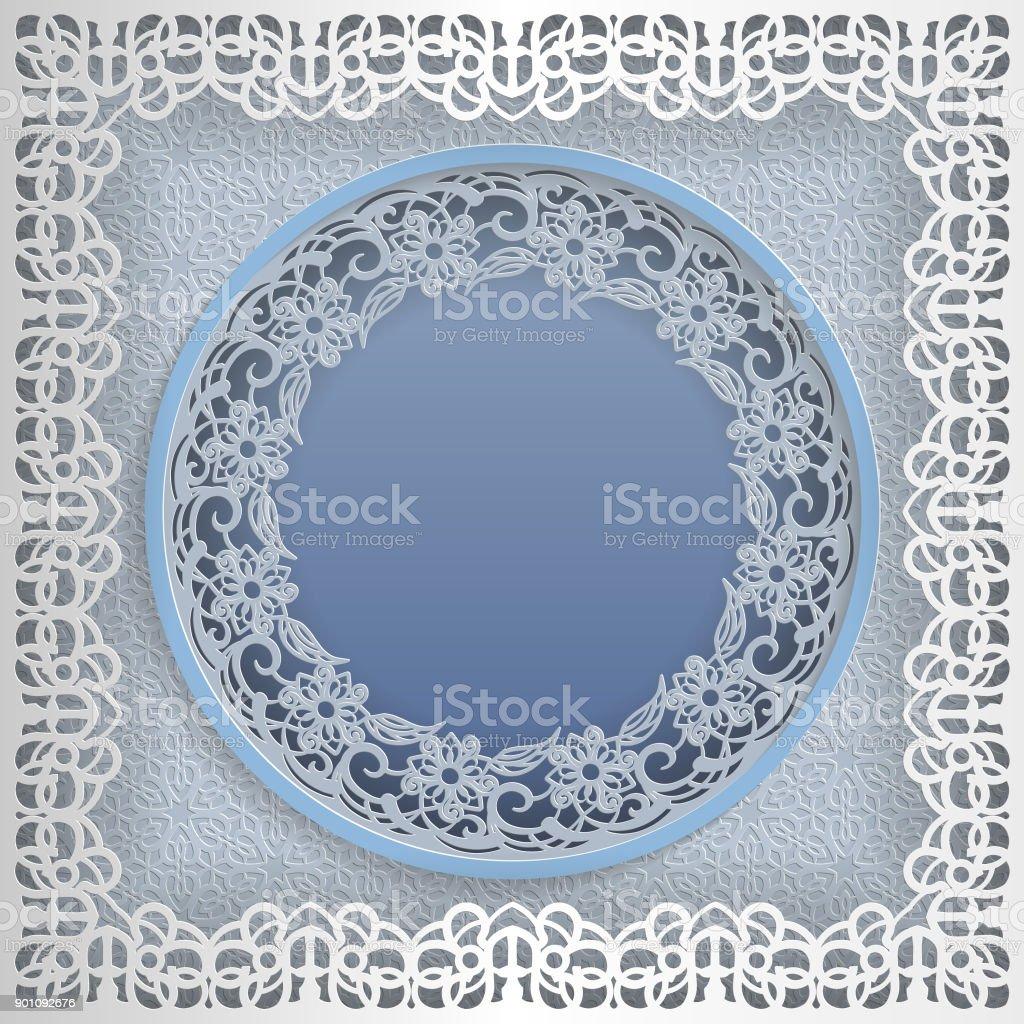 Runde Weiße Rahmen In Einem Quadratischen Rahmen Mit Spitzen Kanten ...