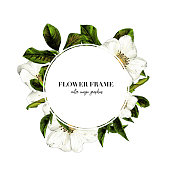 round white frame with lettering decorated with flowers, sketch vector graphic color illustration on white background