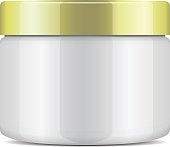 Round white plastic jar with gold cap for cosmetics. Vector mockup template for your design