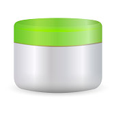 Round white plastic jar with green lid for cosmetics - body cream, butter, scrub, bath salt, gel, skin care, powder. EPS10. Realistic packaging mockup template.