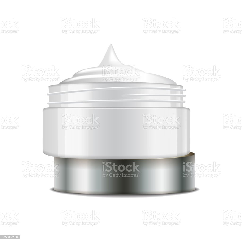 Round white plastic jar with silver cap for cosmetics. Open container. Vector mockup template vector art illustration