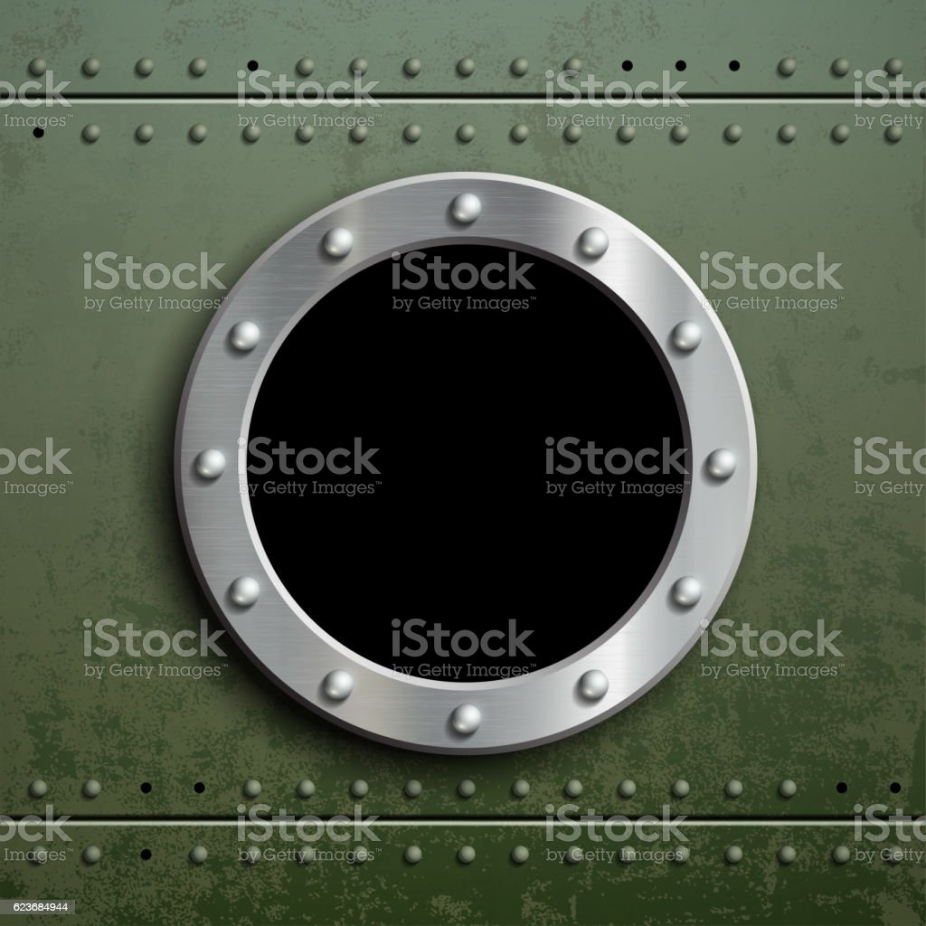 Round window porthole on green metal background. vector art illustration