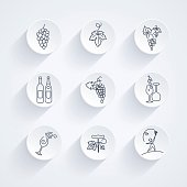 Round Winery Grapes Thin Line Art Icon Set. Assorted line drawings of grapes, wine bottles and winery elements.