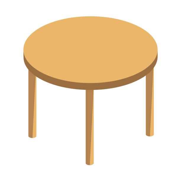 stockillustraties, clipart, cartoons en iconen met ronde houten tafel geïsoleerd illustratie op witte achtergrond - breakfast table
