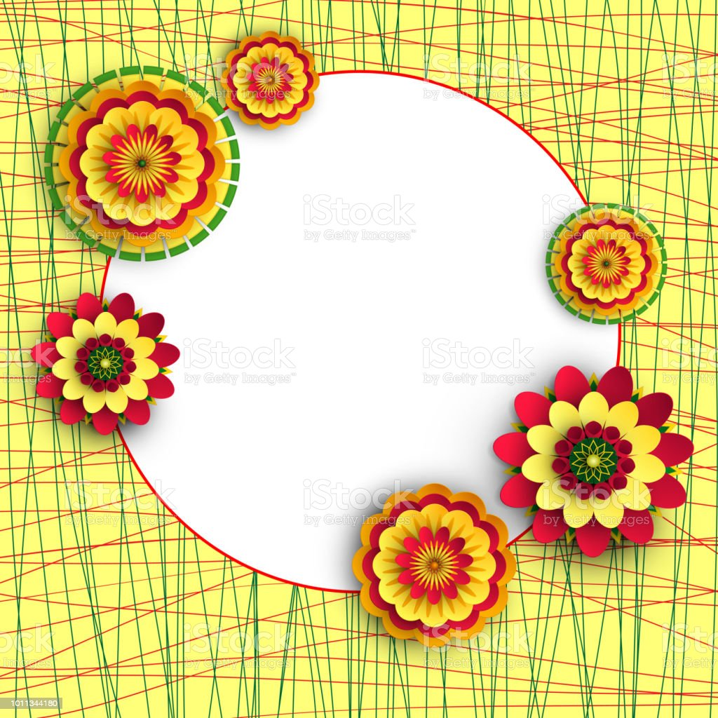 Round Yellow Background With Bright Flowers Stock Vector Art More