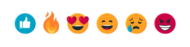 rundes gelbes emoji im flachen stil, vektor - emoticon stock-grafiken, -clipart, -cartoons und -symbole