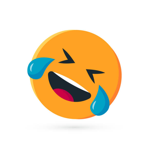 round yellow emoji in flat style, vector - tears of joy emoji stock illustrations