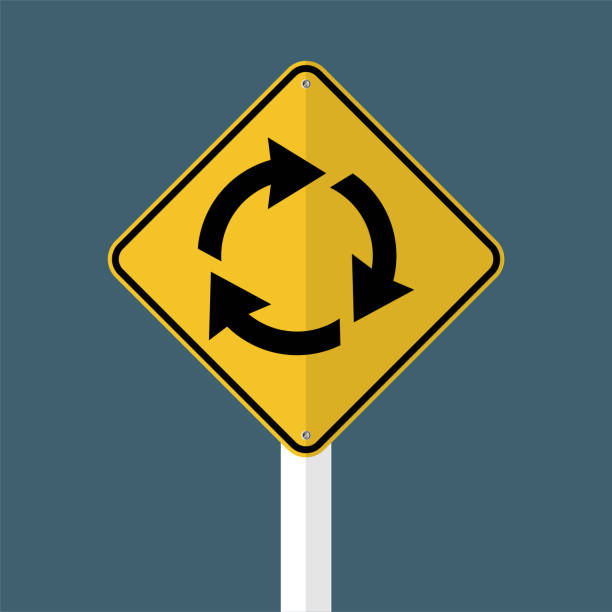 illustrations, cliparts, dessins animés et icônes de rond point suivre signe isolé sur fond de ciel gris. illustration vectorielle - rond point