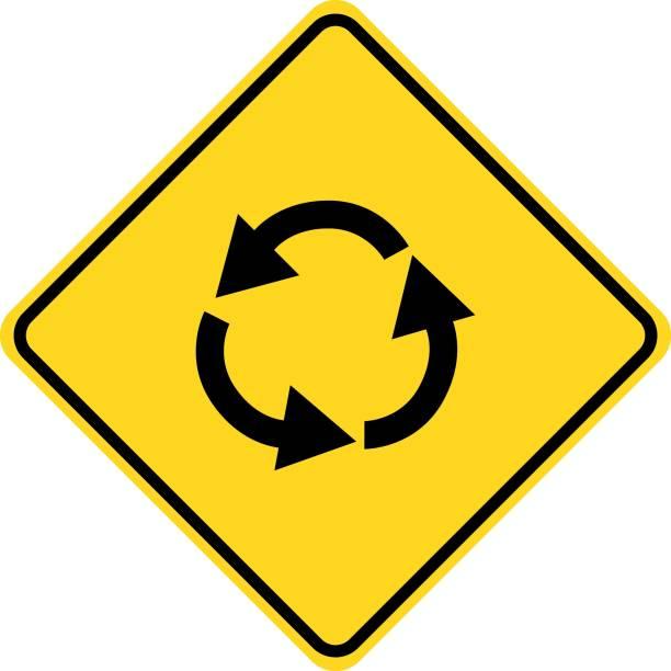 illustrations, cliparts, dessins animés et icônes de panneau de signalisation avant rond point - rond point