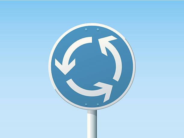 illustrations, cliparts, dessins animés et icônes de rond-point en signe de la route bleue - rond point