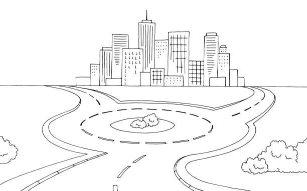 illustrations, cliparts, dessins animés et icônes de rond-point route graphique noir blanc paysage croquis illustration vecteur - rond point