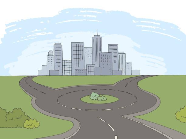 illustrations, cliparts, dessins animés et icônes de vecteur d'illustration graphique de paysage de couleur de route de rond-point - rond point