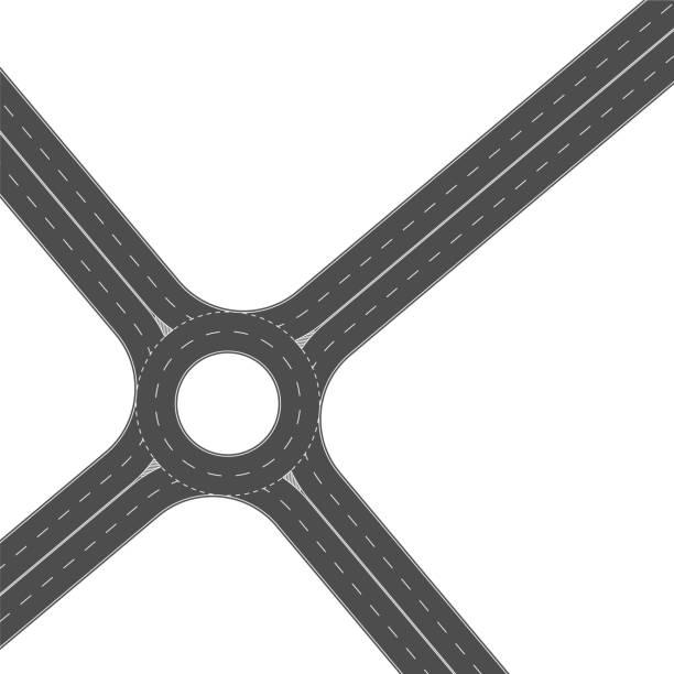 stockillustraties, clipart, cartoons en iconen met rotonde road junction. lege asfalt kruispunt met markering - rotonde kruispunt