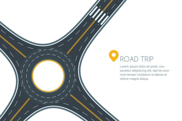 Roundabout road junction, isolated on white background. Vector flat style illustration with copy space. vector art illustration