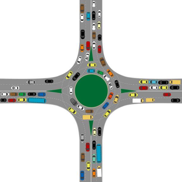 stockillustraties, clipart, cartoons en iconen met rotonde weg kruising met veel auto's - rotonde kruispunt