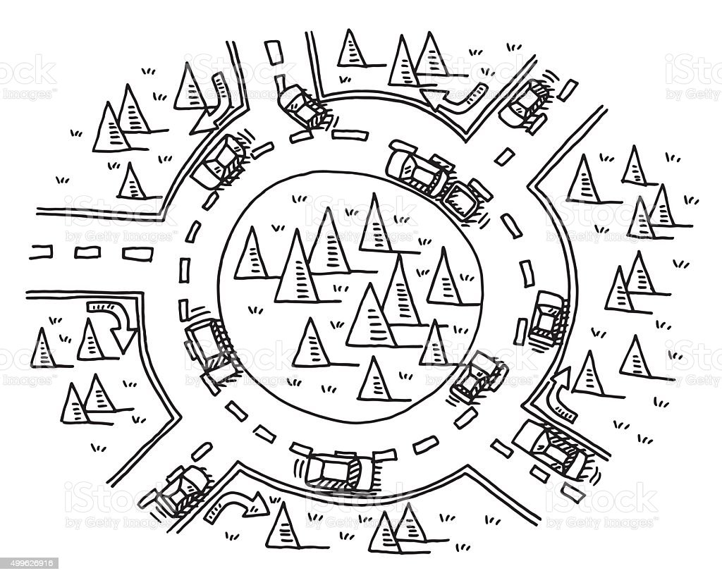 Roundabout Traffic Drawing Stock Vector Art & More Images of 2015 ...